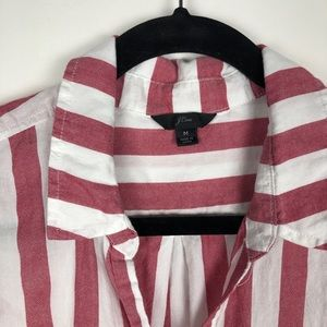 J. Crew Tops - J. Crew Vertical Candy Stripe Button Down Top Red